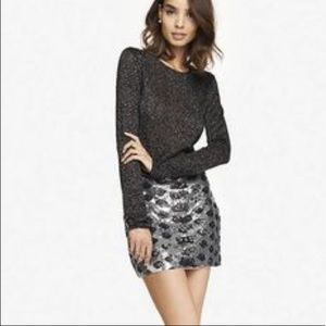 EXPRESS Sequin Leopard Print Mini Skirt