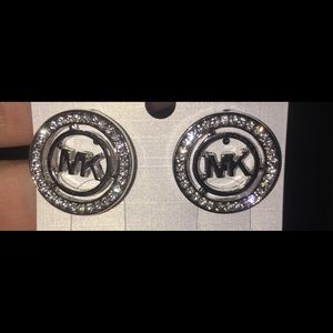 Michael Kors Silver Earrings with Crystals! Bling!