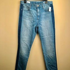 Gap high rise skinny jeans with dark blue stripe