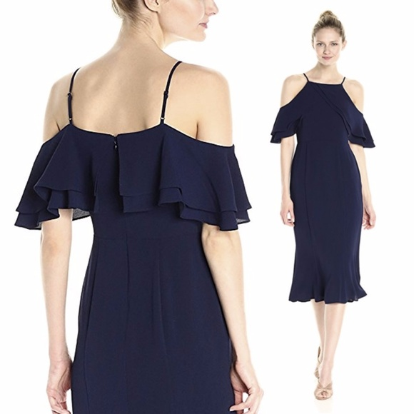 d2894afb64 London Times Dresses   Skirts - London Times Crepe Sheath Dress with Ruffle  Navy