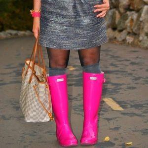 NWOT Hunter glossy tall rain boots hot pink