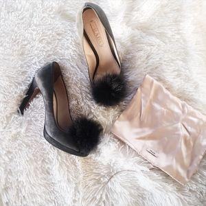 PRADA // grey suede and fur tip peep toe