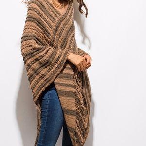 Sweaters - Tan Fuzzy Boho Sweater Knit Poncho One Size