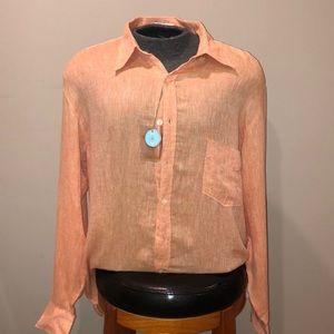 New Burma Bibas Coral Button Down Shirt Sz L