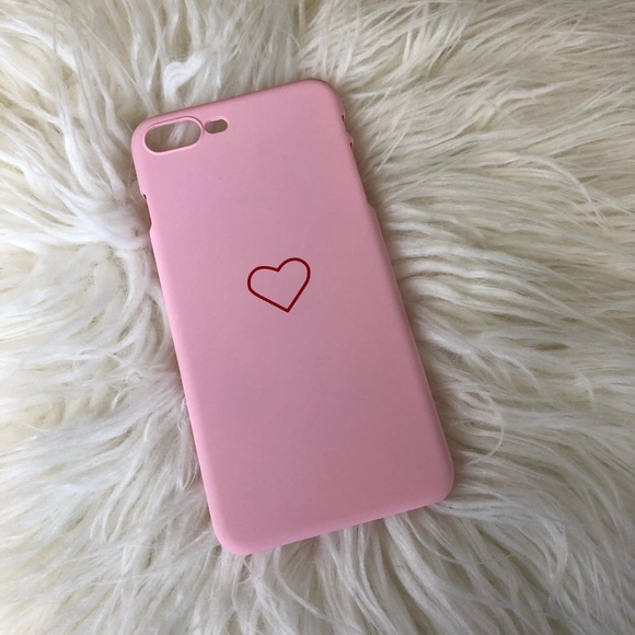 new style 6acf0 6ed51 Pink hard phone case with red heart design. Boutique