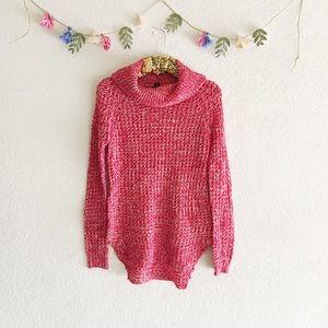 Red Turtleneck Tunic Sweater • NWOT