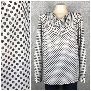 TALBOTS Flower Long Sleeve Blouse with Cowl Neck