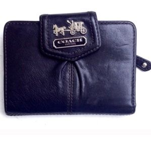 COACH Black Snap Wallet Purple Lining Leather