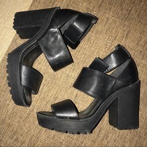 H&M Black Leather Wedge Pumps Size 36