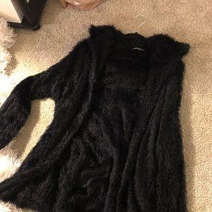 Soft black long cardigan