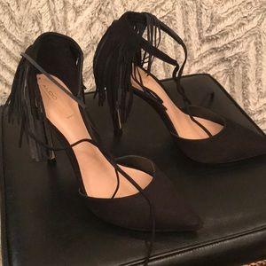 Aldo fringe pointed toe heels