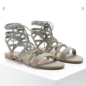 Faux suede lace up sandals