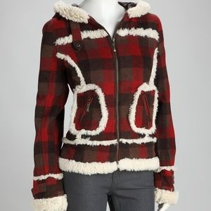 ModCloth Red Plaid Faux Shearling Jacket
