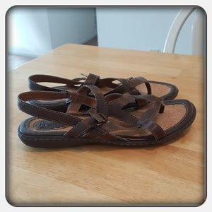 Woman's Brown Genuine Leather Sandals Sz 10M