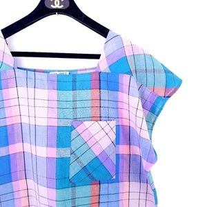 Vintage Multicolored Windowpane Frocket Top