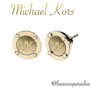 Michael Kors Earrings Gold MK Disc Stud Logo