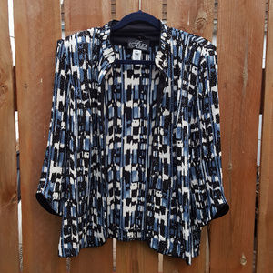 Evening Jacket and Shell Blue Black Pattern