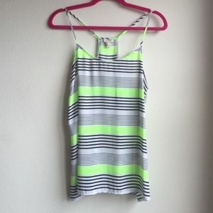 NWOT J Crew neon green black and white racerback