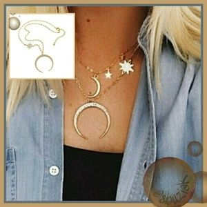 Jewelry - Dreamy Celestrial Crescent Moon and Star Necklace