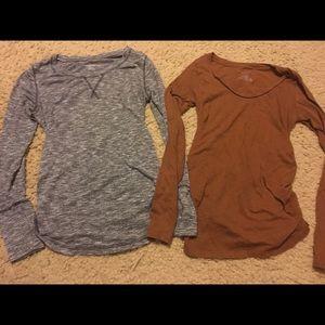 Two Xs Liz Lange long sleeve Maternity shirts