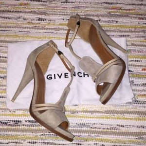 Givenchy Ankle Wrap Heels in Tan Suede