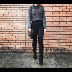 Zara black suede over-the-knee high boots