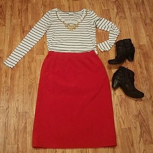 Vintage Faux Sued Highwaisted Cherry Red Midi