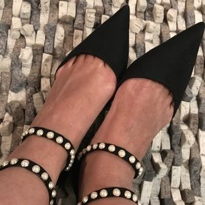Zara D'Orsay Pointed Flats with Beaded Pearl Strap