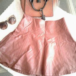 Coffee Brown Leather Skirt