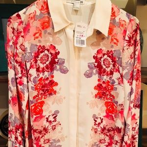 NWT Forever 21 White Floral Button Down