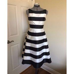 Adrianna Papell Midi Ivory Black Striped Dress