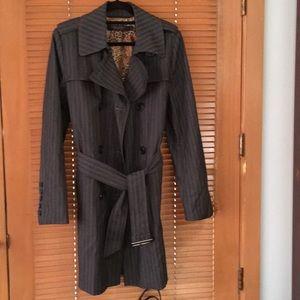 London Fog 3/4 striped denim look trench coat
