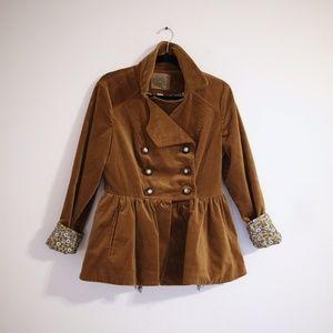 Anthropologie Idra Skirted Corduroy Peplum Coat