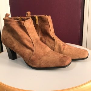 Tan suede heeled booties size 6.5