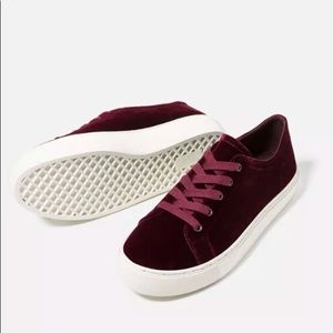 Zara Basic Velvet Burgundy Sneakers Size 40 US 9
