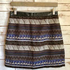 H&M Aztec Embroidered Mini Skirt