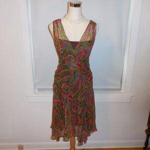DVF bright geo paisley silk dress and slip sz 10 M
