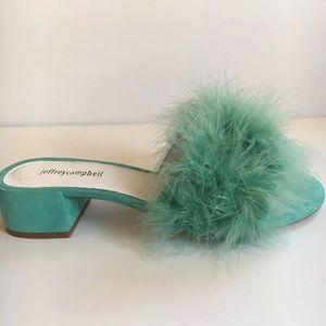 Jeffrey Campbell mint suede feather sandals slides