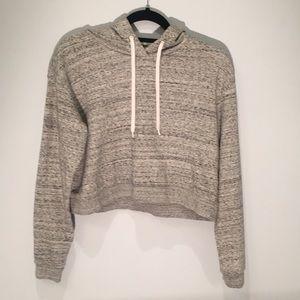 Gray crop top sweater.
