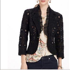 Anthro Tabitha Lace & Silk Ruffle Blazer