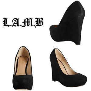 Women's Black Suede Plum Platform Wedges