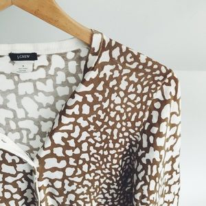 J. Crew Giraffe Print Crop Cardigan Sweater