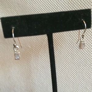 Jewelry - Cute Sterling Silver Block Earrings with Flowers