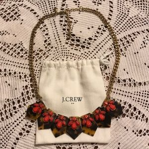 J. Crew tortoise and coral statement necklace