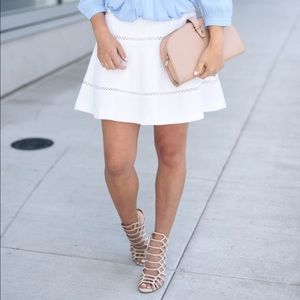 Banana Republic White Cutout Flared Skirt