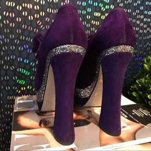 Miu Miu Purple Glitter Suede Mary Jane Platforms