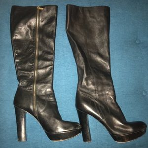 Michael Kors black leather knee boots.