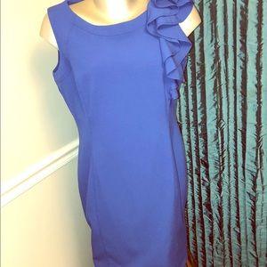 Blue Calvin Klein Ruffle detailed Shift Dress