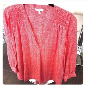 Joie Red White Silk Tunic Blouse XS