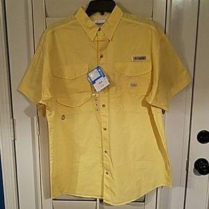 NWT Columbia Men's SS Shirt Yellow Size M